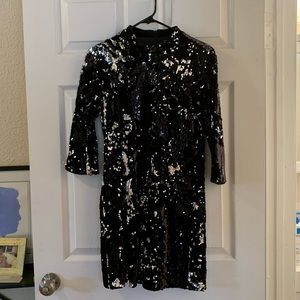 Zara Sequin and Velvet Mini Dress